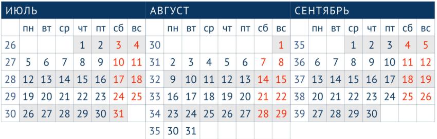 Производственный календарь III квартал 2021 года